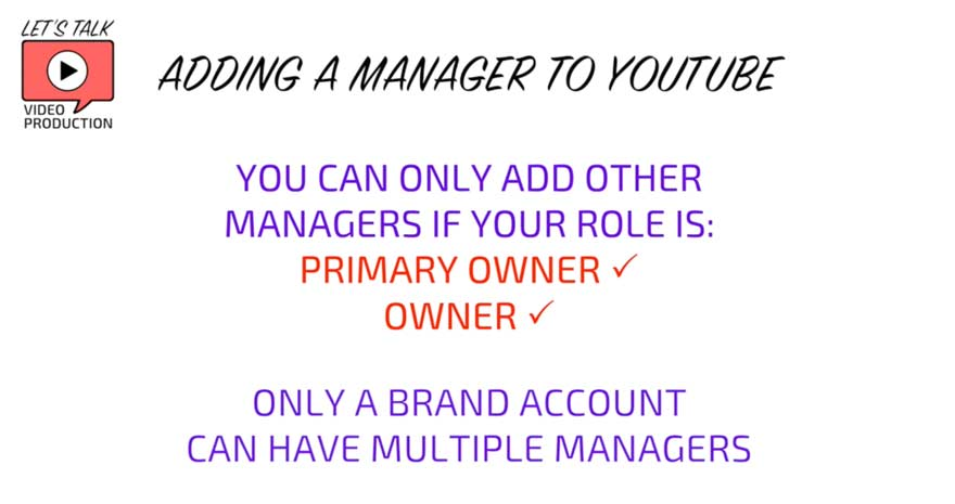 why can't I add a manager to youtube