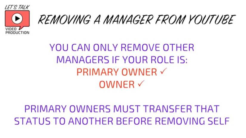 why can't I remove Manager on YouTube