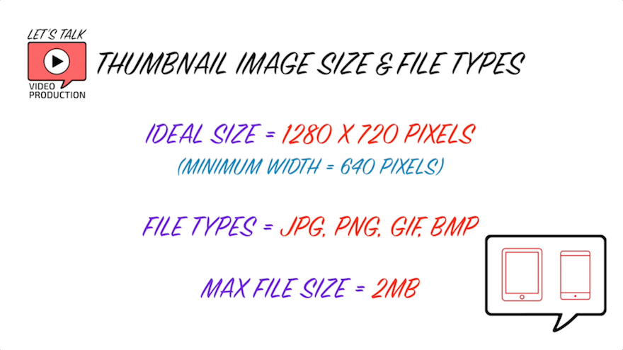YouTube Thumbnail Size, file types, maximum file size